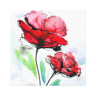 Abstract painted floral background 2 canvas print