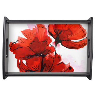 Abstract painted floral background 2 serving platters