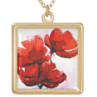 Abstract painted floral background 2 square pendant necklace