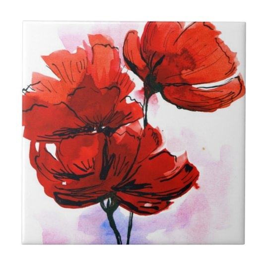 Abstract painted floral background 2 tile