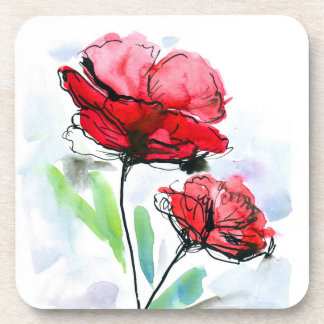 Abstract painted floral background coaster
