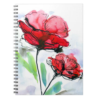 Abstract painted floral background notebook