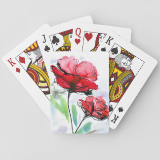 Abstract painted floral background playing cards