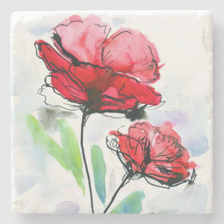 Abstract painted floral background stone coaster