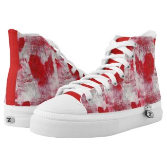 Abstract Painted Hearts High-Top Sneakers