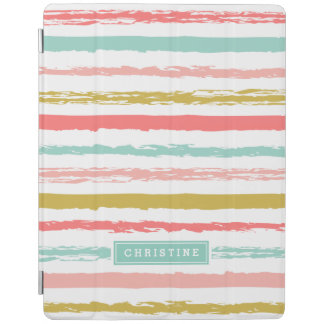 Abstract Painted Stripes Monogram iPad Smart Cover