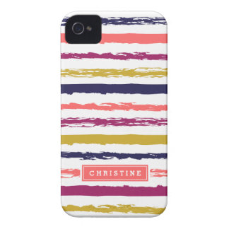 Abstract Painted Stripes Monogram iPhone 4 Case-Mate Case