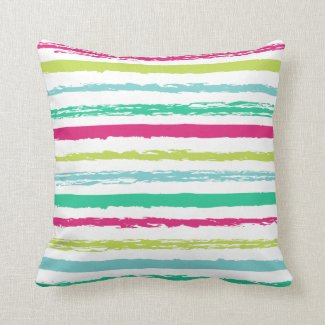 Abstract Painted Stripes Throw Pillow