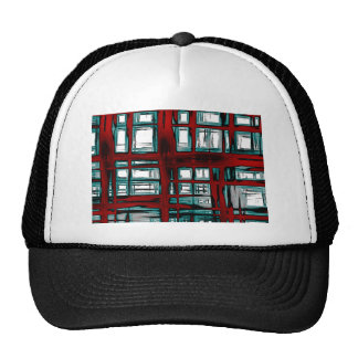Abstract Painted Turquoise Red Plaid Trucker Hat