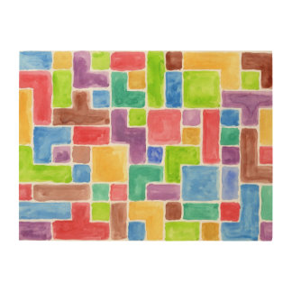 Abstract painted watercolor background. 2 wood print
