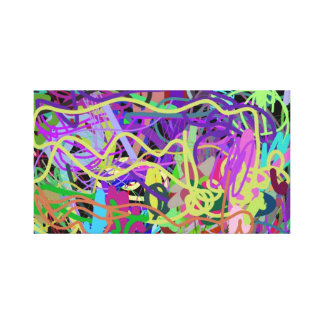 Abstract painting - 2 year old daughter in action stretched canvas print