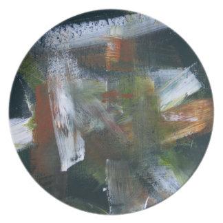 Abstract Painting 50 November Rain Melamine Plate