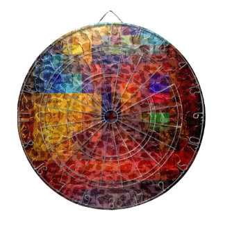 Abstract painting City Lights Dartboard With Darts