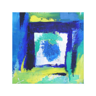 Abstract Painting Expressionism Blue Green Colors Canvas Print