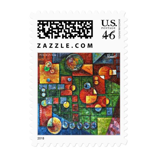 Abstract Painting (Geometric Forms) Small Postage