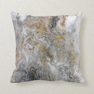 Abstract Painting Gray Black Gold White Artwork Throw Pillow