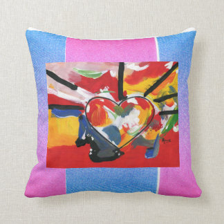 Abstract painting heart, bright colors throw pillow