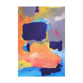 Abstract Painting Modern Colors Orange Dark Blue Canvas Print