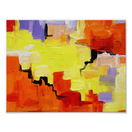 Abstract Painting on Canvas Poster