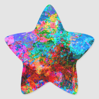 Abstract painting on Canvas Star Sticker