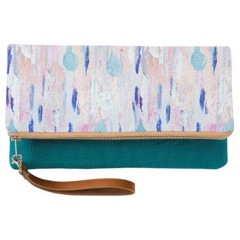 Abstract Painting Pink Blue Rose-Gold Clutch