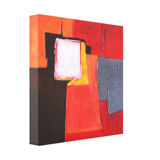 Abstract Painting Red and Yellow Colors - Modern Canvas Print
