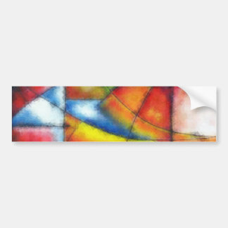 abstract painting red yellow green blue bumper sticker