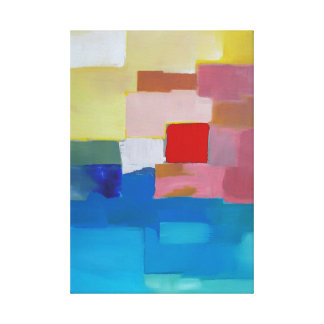 Abstract Painting Sea /  Island / Sky - Red Square Canvas Print