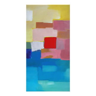 Abstract Painting Sea / Island / Sky - Red Square Card