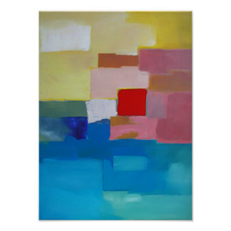Abstract Painting Sea /  Island / Sky - Red Square Poster