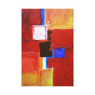 Abstract Painting Squares Geometric with Red White Canvas Print