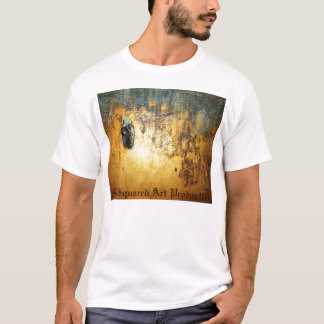 abstract painting with face profile in gold. T-Shirt
