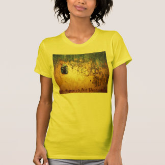 abstract painting with face profile in gold. t shirt