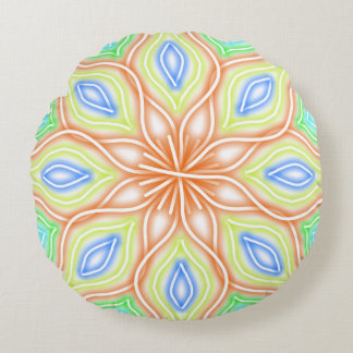Abstract Pale Neon Rainbow Flower Round Pillow