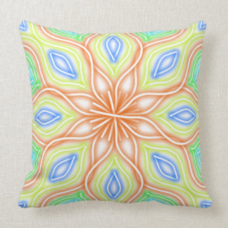 Abstract Pale Neon Rainbow Flower Throw Pillow