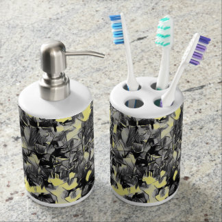 Abstract Pale Yellow & Black bathroom accessories Soap Dispenser & Toothbrush Holder