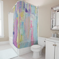 Abstract Palette Knife Painting Shower Curtain 4