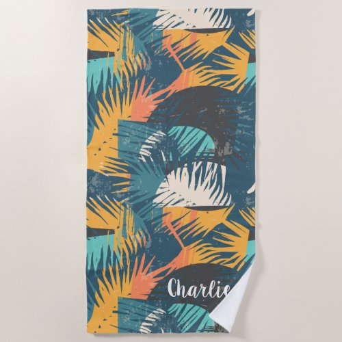 Abstract Palm Leaf Pattern custom name beach towel