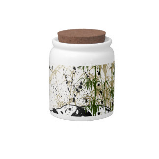 Abstract panda in bamboo forest candy jars