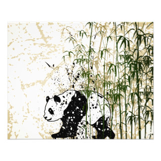 """Abstract panda in bamboo forest 4.5"""" x 5.6"""" flyer"""