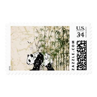 Abstract panda in bamboo forest postage