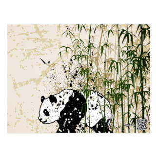 Abstract panda in bamboo forest postcard