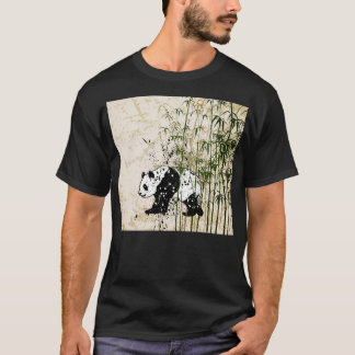 Abstract panda in bamboo forest T-Shirt