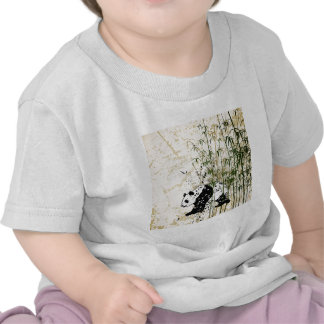 Abstract panda in bamboo forest tees
