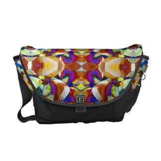 Abstract Pansy Flower Fractal Courier Bag