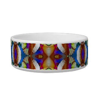 Abstract Pansy Flower Fractal Cat Water Bowls