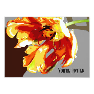 """Abstract Parrot Tulip You're Invited 5"""" X 7"""" Invitation Card"""