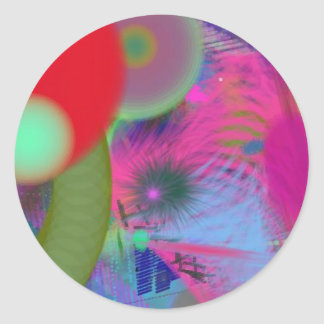 abstract party classic round sticker