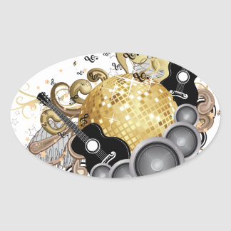 Abstract party design oval sticker