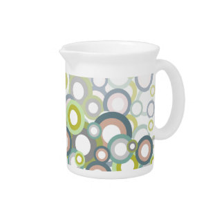 Abstract Pastel Circles Pattern Beverage Pitcher